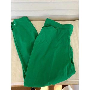 roz & Ali sz 14 green pants bling ankle accent